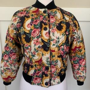 Vintage Nautical Floral Quilted Jacket Reversible